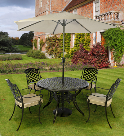 Idle Rose Gypsy Four Seat Round Dining Set with Parasol in Coke and Taupe