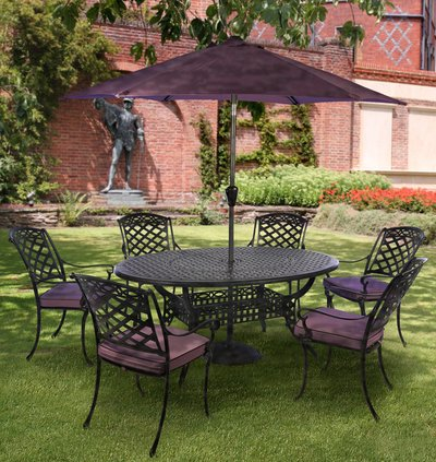 Gypsy Six Seat Round Dining Set with Parasol in Coke and Blackberry