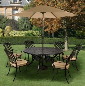 Gypsy Six Seat Round Dining Set with Parasol in Coke and Taupe