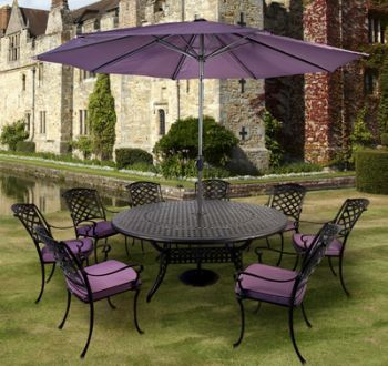 Idle Rose Gypsy Eight Seat Round Dining Set with Parasol in Coke and Blackberry