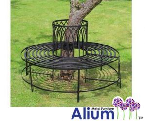 Alium™ Trentino Steel Circular Garden Tree Seat in Black - Full Circle