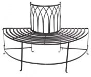 Alium� Trentino Steel Circular Garden Tree Seat in Black - Half Circle