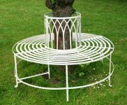 Alium� Trentino Steel Circular Garden Tree Seat in Cream - Full Circle