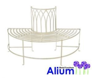 Alium™ Trentino Steel Circular Garden Tree Seat in Cream - Half Circle