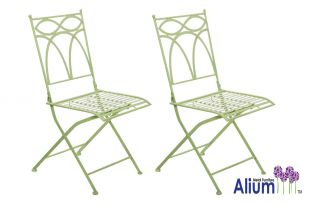"Alium™ ""Pesaro"" Foldable Steel Bistro Chairs - Set of 2 in Sage Green"