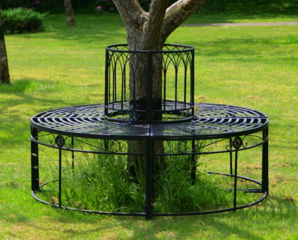Alium Ischia Steel Circular Garden Tree Seat In Black Full Circle 163 169 99
