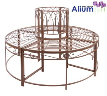 Alium™ Ischia Steel Circular Garden Tree Seat in Brown - Full Circle