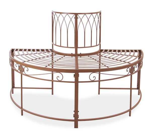 Alium™ Ischia Steel Circular Garden Tree Seat in Brown - Half Circle