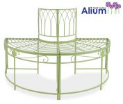 Alium� Ischia Steel Circular Garden Tree Seat in Green - Half Circle