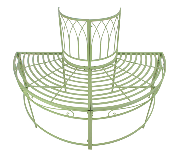 Alium™ Ischia Steel Circular Garden Tree Seat in Green - Half Circle