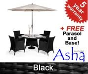 "4 Seater Rattan Weave Garden Furniture Set (Black) - Asha� ""Marlborough""  with Parasol"