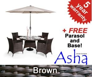 "4 Seater Rattan Weave Garden Furniture Set (Mixed Brown) - Asha™ ""Marlborough"" with Parasol"