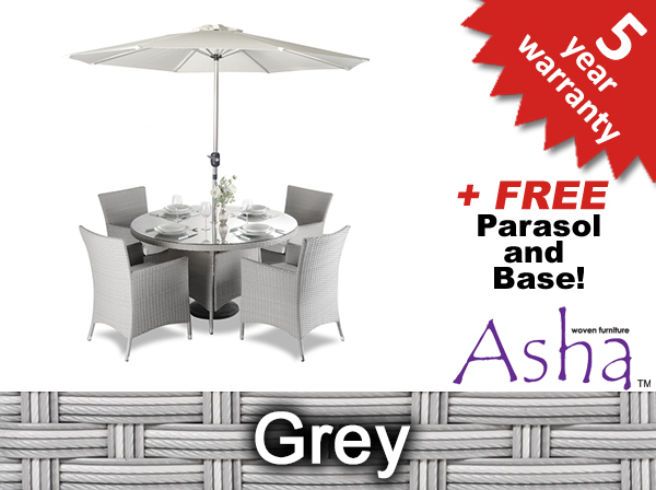 "4 Seater Rattan Weave Garden Furniture Set (Grey) - Asha™ ""Marlborough"" with Parasol"