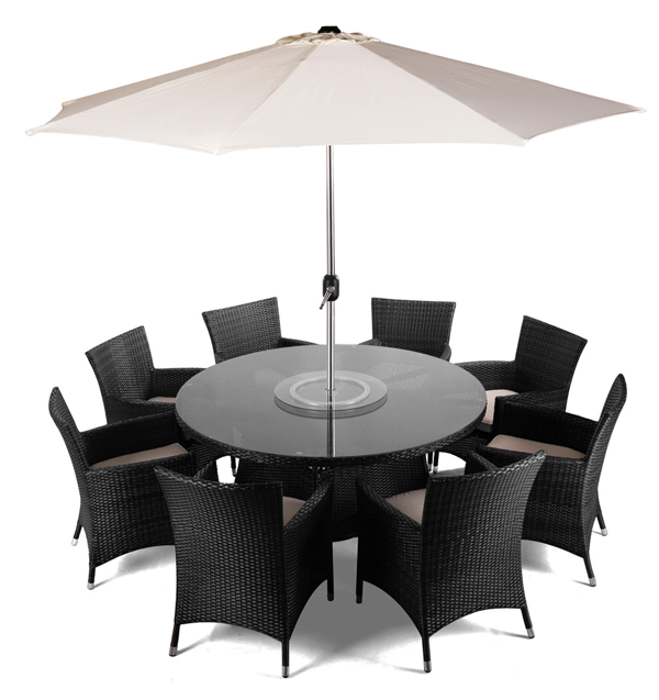 "8 Seater Rattan Weave Garden Furniture Set (Black) - Asha™ ""Henley"" with Parasol"