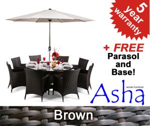 "8 Seater Rattan Weave Garden Furniture Set (Mixed Brown) - Asha™ ""Henley"" with Parasol"