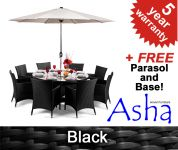 "8 Seater Rattan Weave Garden Furniture Set (Black) - Asha� ""Henley"" with Parasol"