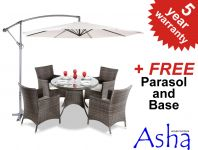 "Asha ""Paignton"" Rattan 4 Seater Round Garden Furniture Set with Cantilever Parasol"