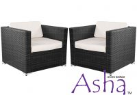 Pair of Single Garden Sofa Chairs Rattan Weave by Asha�