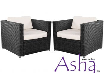 Pair of Single Garden Sofa Chairs Rattan Weave by Asha™
