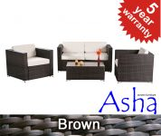 "4 Seater Rattan Weave Garden Sofa Set - Asha� ""Chartwell"" (Mixed Brown)"