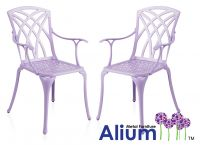 Alium™ 2 Cast Aluminium Chairs Garden Furniture Set in Lilac