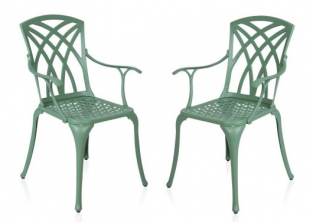 Set of 2 Cast Aluminium Forest Green Washington Garden Armchairs by Alium™