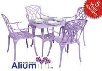 Alium� Washington Cast Aluminium 4 Seater Square Garden Furniture Set in Lilac