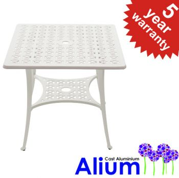 Cast Aluminium White Square Table