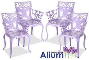 Alium™ Set of 4 Cast Aluminium Lilac Lincoln Garden Armchairs