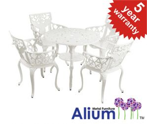 "Alium™ ""Lincoln"" Cast Aluminium 4 Seater Round Garden Furniture Set in White"