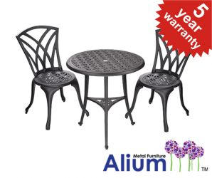 "Alium™ ""Harrison"" Cast Aluminium 2 Seater Garden Bistro Set in Black"