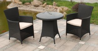 Cannes Rattan Garden Bistro Set in Ebony Black
