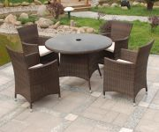 Cannes 4 Seater Round Garden Dining Set in Mocha Brown