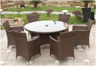 Cannes 6 Seater Round Garden Dining Set in Mocha Brown