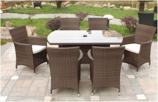 Cannes 6 Seater Rectangular Garden Dining Set in Mocha Brown