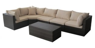 Cannes Rattan Modular Garden Lounging Set in Mocha Brown