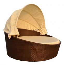 Cannes Knightsbridge Garden Day Bed in Mocha Brown with Foldable Canopy