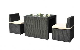 Cannes Rattan Garden Cube Bistro Set in Ebony Black