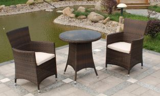 Cannes Rattan Garden Bistro Set in Mocha Brown