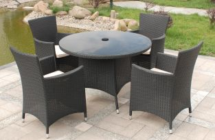 Cannes 4 Seater Round Garden Dining Set in Ebony Black