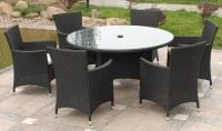 Cannes 6 Seater Round Garden Dining Set in Ebony Black