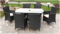 Cannes 6 Seater Rectangular Garden Dining Set in Ebony Black