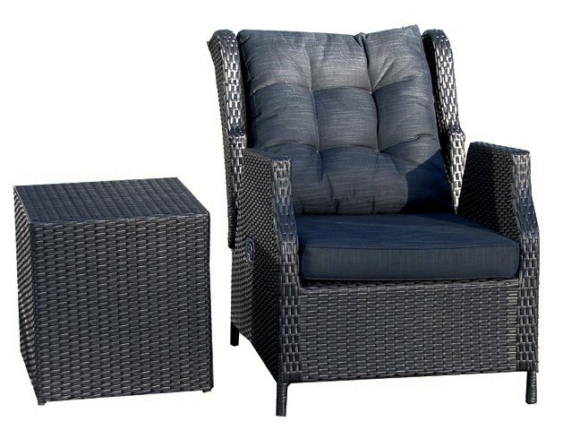 Cannes Rattan Garden Recliner Armchair with Coffee Table in Ebony Black