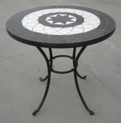 Rimini Cast Aluminium 76cm Round Garden Table with Stone Mosaic in Black