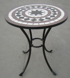 Rimini Cast Aluminium 76cm Round Garden Table with Stone Mosaic in Brown