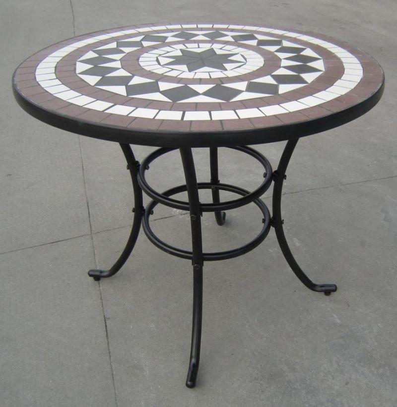 Rimini Cast Aluminium Round Garden Table With Stone Mosaic In