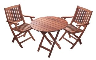 "Monkfin ""Rockford"" Hardwood 2 Seater Round Garden Bistro Set"