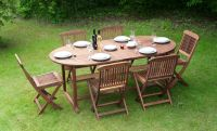 "Monkfin ""Charleston"" Hardwood 6 Seater Oval Extendable Garden Furniture Set"