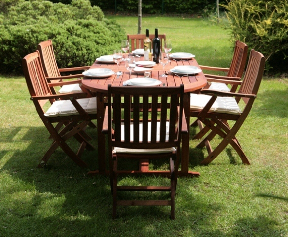 with foldable chairs and features a classical design the set will enable you to enjoy the pleasure of alfresco dining in your garden or on your patio - Garden Furniture 6