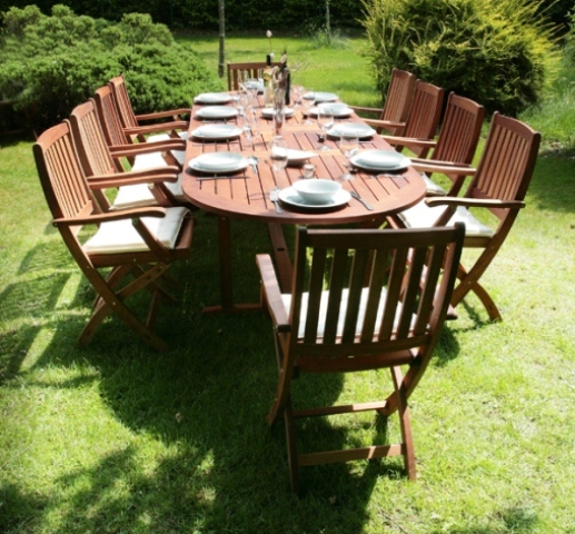 Monkfin Quot Rockford Quot Hardwood 10 Seater Oval Extendable